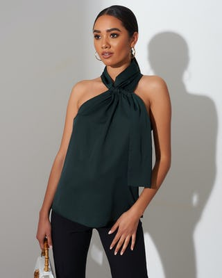 Dark Green Halter Neck Top