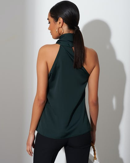 Dark Green Halter Neck Top