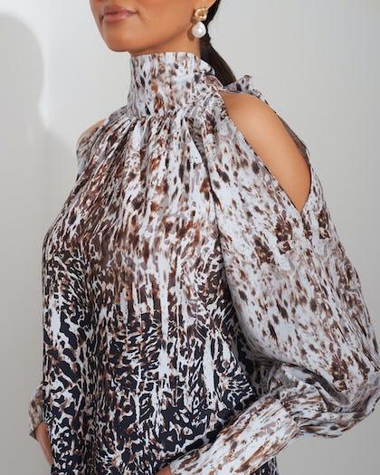 Animal Print Cold Shoulder Blouse
