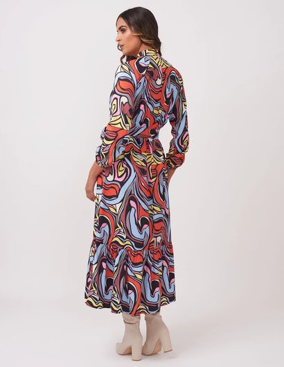 Multi-Pattern Drop Hem Maxi Dress