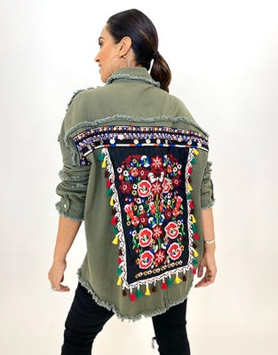 Khaki Embroidered Shacket