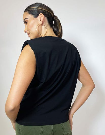 Black Shoulder Pad T-Shirt