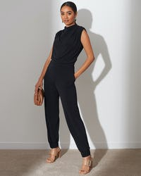 Black Roll Neck Jumpsuit