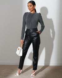 Black Ruched High Neck Bodysuit