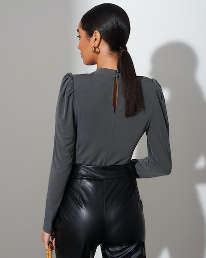 Khaki RuchedHigh Neck Bodysuit