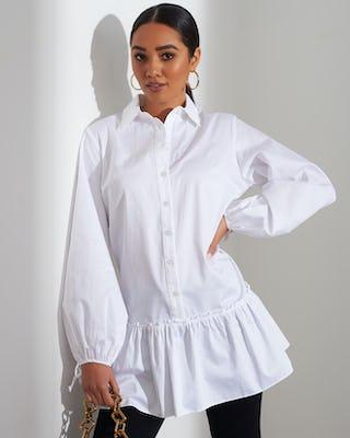 White Peplum Hem Shirt
