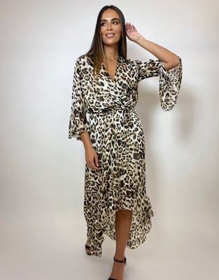 Leopard Print Drop Hem Wrap Dress