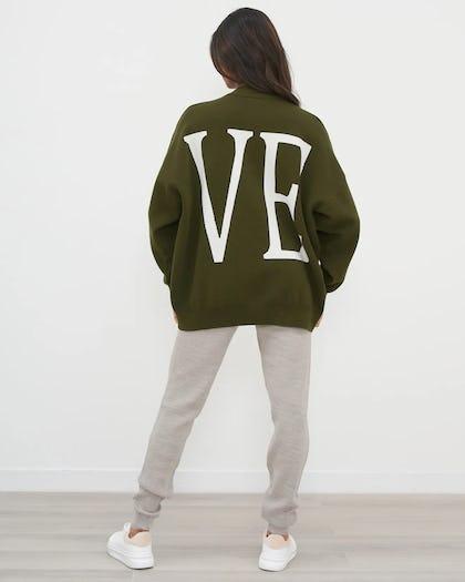 Khaki Love Slogan Oversized Jumper