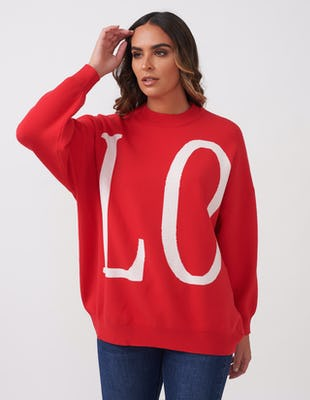 LOVE Red Slogan Oversized Jumper
