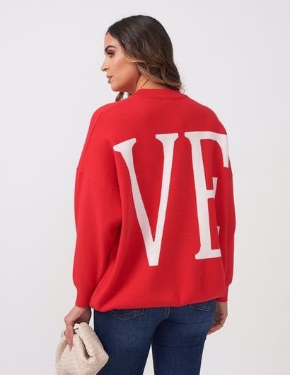 Red Love Slogan Oversized Jumper