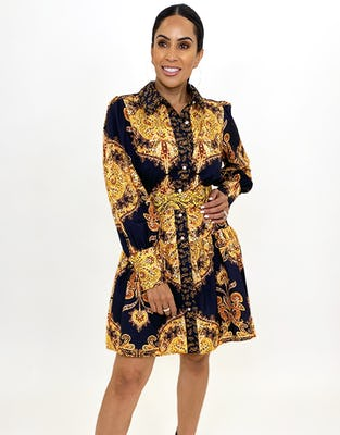 Black and Gold Paisley Long Sleeve Mini Dress