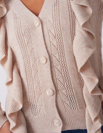 Beige Ruffle Knit Cardigan