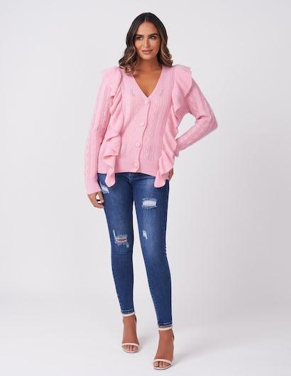 Pink Ruffle Knit Cardigan