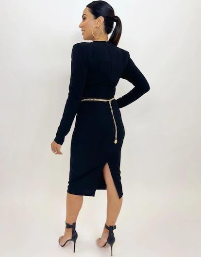 Black Wrap Crepe Midi Dress
