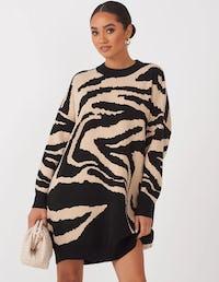 Grey Zebra Print Oversized Jumper Dress