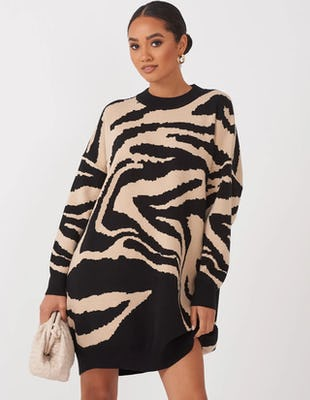 Beige Zebra Print  Oversized Jumper Dress