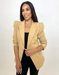 Black Double Breasted Power Blazer