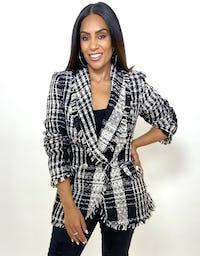 Black & White Tweed Double Breasted Jacket