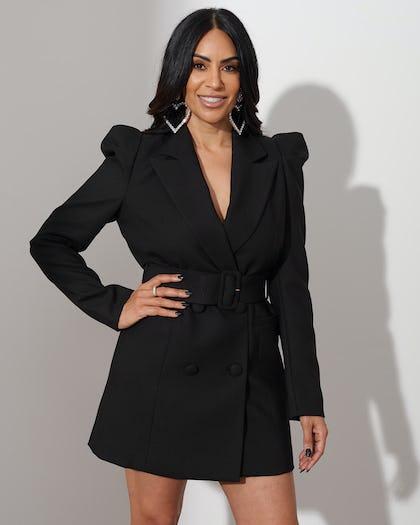 Black Belted Blazer Dress