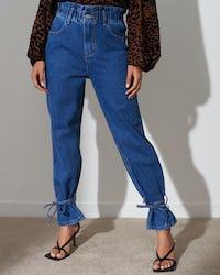 Paperbag Tie Ankle Jeans