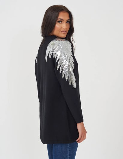 Black Sequin Wings Oversized Jumper