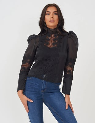 Black Sheer Blouse with Lace Detail