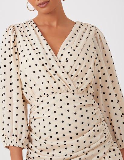Cream Polka Dot Mini Dress