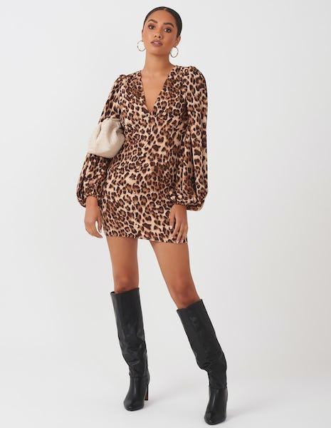 Leopard Print Balloon Sleeve Mini Dress