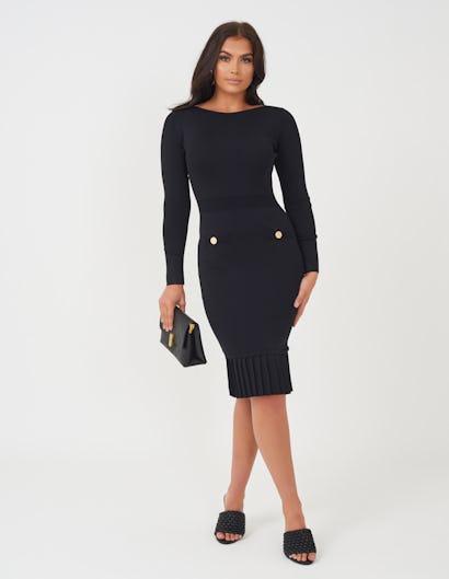 Black Knitted Midi Dress