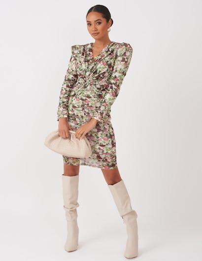 Vintage Floral Ruched Dress