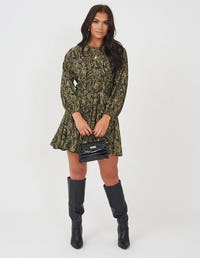 Khaki Zebra Print Mini Dress