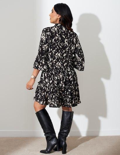 Monochrome Print Mini Dress