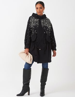 Black Embellished Parka