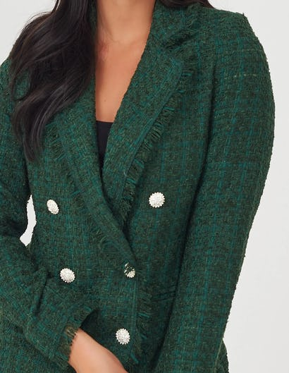 Emerald Green Tweed Double Breasted Jacket