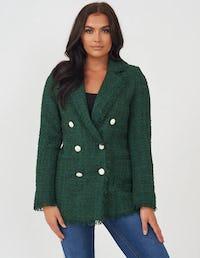 Emerald Green Tweed Double Breasted Jacket