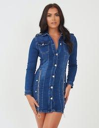 Denim Mini Dress With Zip Detail