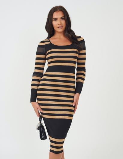 Black & Gold Striped Knitted Dress