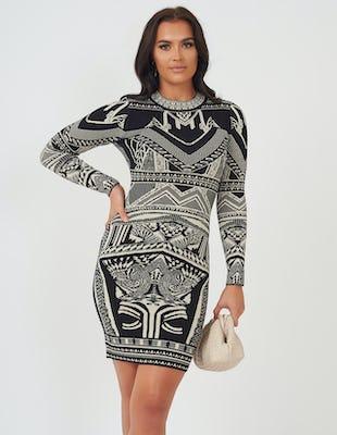 Black & Gold Aztec Print Knitted Dress