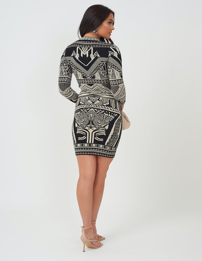 Black & Gold Aztec Print Knitted Dress