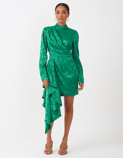 Forest Green Asymmetric Dress