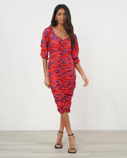 Red & Navy Floral Print Ruched Midi Dress