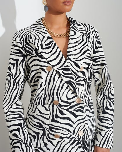 Zebra Print Double Breasted Blazer