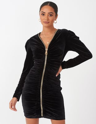Black Velvet Zip Front Mini Dress