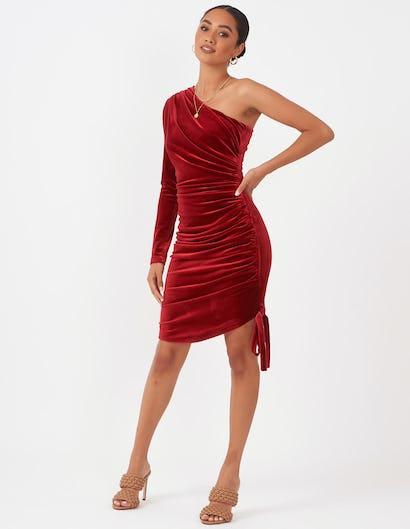 Burgundy One Shoulder Ruched Dress