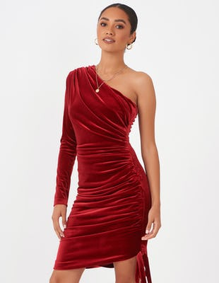 Burgundy One Shoulder Ruched Dress