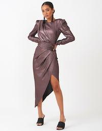Metallic Purple Asymmetrical Wrap Midi Dress