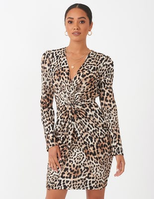 Leopard Print Ruched Mini Dress