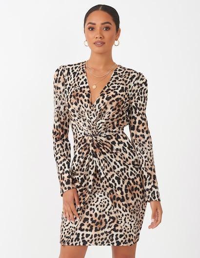 Leopard Print Ruched Mini Dress