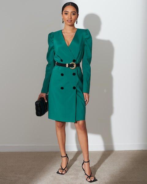 Ivy Green Belted Blazer Dress