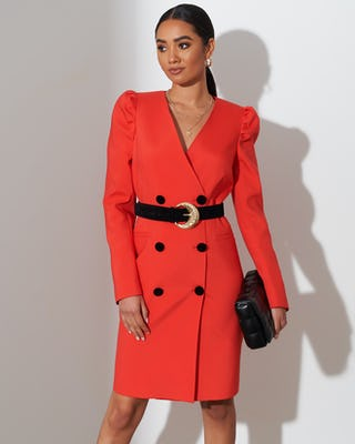 Red Belted Blazer Dress